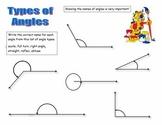 Geometry Types of Angles Worksheet