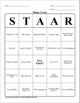 U.S. History STAAR Bingo Ch-12,13,14,15,16.