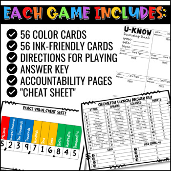 Math Games Mini U-Know Bundle 1 | Math Test Prep Review Games