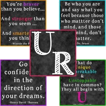 U R Bulletin Board - Chalkboard - Self Esteem and Positive Words