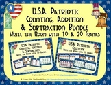 U.S.A. Patriotic Count, Add & Subtract Bundle with 10 & 20 Frames {Subitizing}