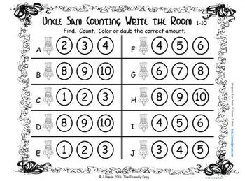 U.S.A. Patriotic Counting, Addition & Subtraction with Ten Frames {Subitizing}