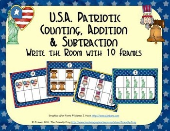 U.S.A. Patriotic Counting, Addition & Subtraction with Ten