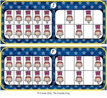 U.S.A. Patriotic Counting with 20 Frames {Subitizing}