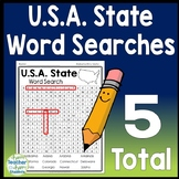 U.S.A State Word Search: 50 States Word Search {5 Word Searches Total)