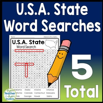 U.S.A State Word Search: 50 States Word Search {5 Word ...