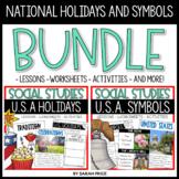 U.S.A. Symbols and National Holidays Worksheets Bundle