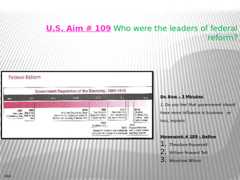 U.S. Aim # 109 Who were the leaders of federal reform?