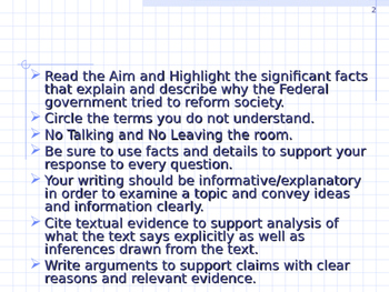 U.S. Aim # 110 How has the Federal Government tried to reform society?