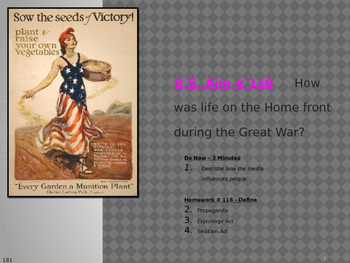 U.S. Aim # 116 How was life on the Home front during the G