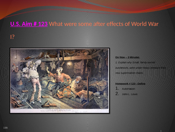 U.S. Aim # 123 What were some after effects of World War I?