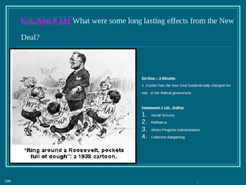 U.S. Aim # 131 What were some long lasting effects from the New Deal?