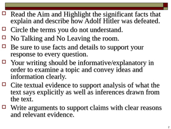 U.S. Aim # 139 What was Hitler's downfall?