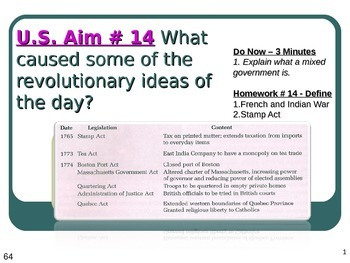 U.S. Aim # 14 What caused some of the revolutionary ideas