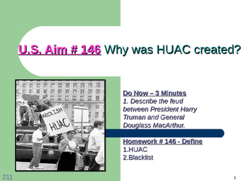 U.S. Aim # 146 Why was HUAC created?