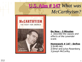 U.S. Aim # 147 What was McCarthyism?