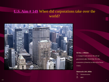 U.S. Aim # 149 When did corporations take over the world?