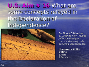 U.S. Aim # 16 What are some concepts relayed in the Declaration of Independence?