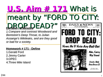 """U.S. Aim # 171 What is meant by """"Ford to city: drop dead?"""""""