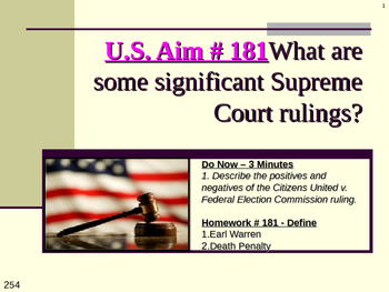 U.S. Aim # 181 What are some significant Supreme Court rulings?