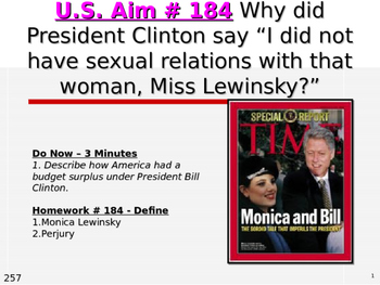 """U.S. Aim # 184 Why did Clinton say """"I did not have sexual"""