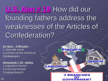 U.S. Aim # 19 The weaknesses of the Articles of Confederation?