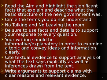 U.S. Aim # 22 What is the basic structure of the new government?