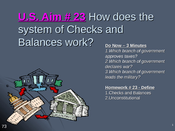 U.S. Aim # 23 How does the system of Checks and Balances work?