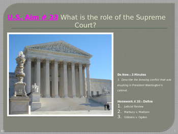 U.S. Aim # 33 What is the role of the Supreme Court?