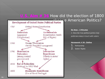 U.S. Aim # 36 How did the election of 1800 change American Politics?