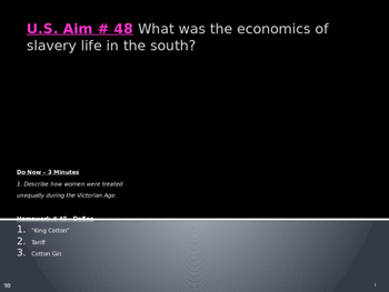 U.S. Aim # 48 What was the economics of slavery life in th