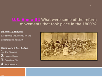 U.S. Aim # 54 What reform movements that took place in the