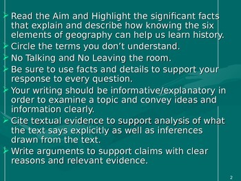 U.S. Aim # 6 How can knowing the elements of geography help us learn history?