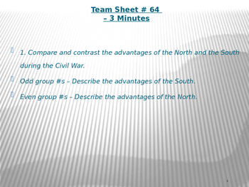 U.S. Aim # 64 What advantages did the Union have over the Confederacy?