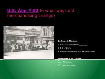 U.S. Aim # 82 In what ways did merchandising change?