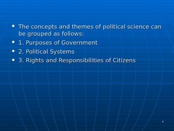 U.S. Aim # 9 What are some concepts of Government and Political Science?