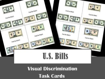 U.S. Bill Visual Discrimination Task Cards