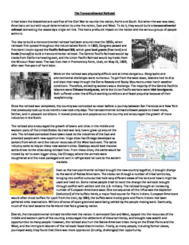 U.S. Building the Railroads Westward Expansion Reading and Graphic Organizer