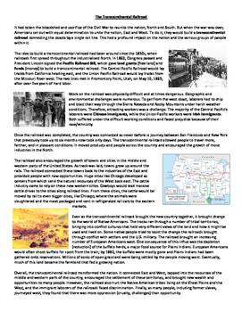 U.S. Railroads Westward Expansion Reading & Graphic Organizer Distance Learning