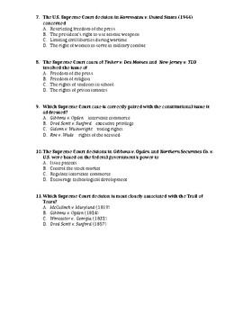 U.S. CHEAT SHEET - LANDMARK SUPREME COURT CASES (DOC) - QUIZ & REGENTS REVIEW