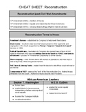 U.S. CHEAT SHEET - RECONSTRUCTION (PDF) - QUIZ & REGENTS REVIEW