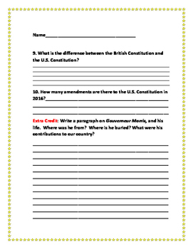 U.S. CONSTITUTION, A SOCIAL STUDIES PROJECT- GRADES 5-9