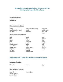 U.S. Citizenship Class N-400 Vocabulary List for application