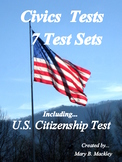 U.S. Civics Test  of 100 Questions + 6 Practice Tests-All With & Without Answers
