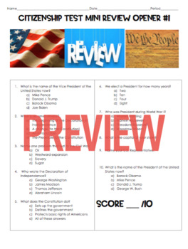 U.S. Citizenship Test Mini Review Opener #1 KEY INCLUDED