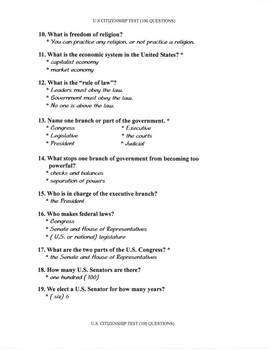 U.S. Civics Test of 100 Questions- With & Without the Answers