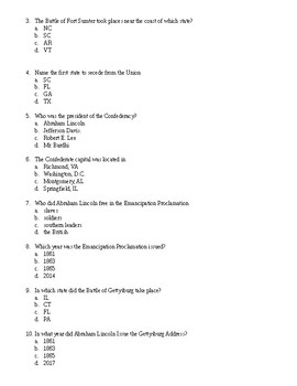 U.S. Civil War Exam