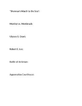 U.S. Civil War Homework Definitions II (Battles & Generals)