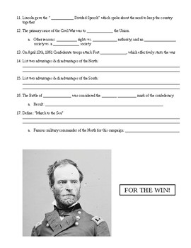 U.S. Civil War Review Sheet