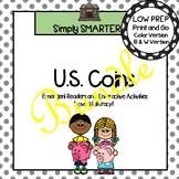 U.S. Coins Emergent Reader Books AND Interactive Activities Bundle